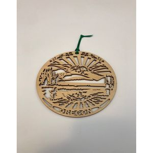 Oregon laser cut wood christmas ornament